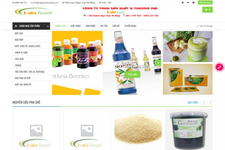 Website bán hàng Nguyên liệu pha chế Hala
